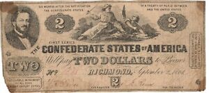1861 VF/XF (4 Corner Mounting  Mark Stains) CSA Confederate 2 Dollar Note