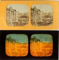 Italia Roma Il Forum, Foto Stereo Diorama Albumina Ca 1860