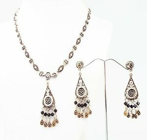 DESIGNER INSPIRED 18 in CLEAR CRYSTAL FILIGREE ROSE SILVER NECKLACE JEWELRY SET