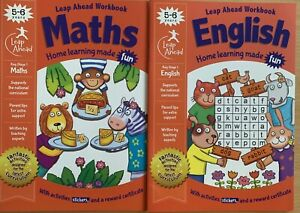 Leap Ahead English And Maths Set of 2 Workbooks Children Age 5-6 KS1 NEW Latest