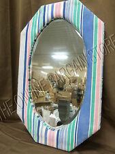Pottery Barn Kids PB Teen Blue Stripe Must See Vanity Bathroom corkboard mirror