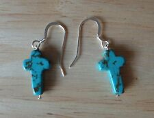 Sterling Silver 20x10mm Turquoise color Magnesite Cross on 14mm wire Earrings