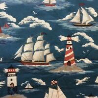 BTY Fabric Cotton Print Lighthouse Sailboat Ships Boats Quilt Craft 4 Yd X44 New
