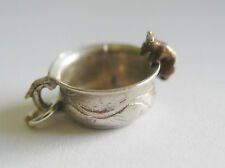 RARE VINTAGE ENGLISH SILVER & ENAMEL MOUSE ON TEA CUP or POTTY CHARM ~ NUVO