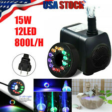 15W Submersible Water Pump with 12 LED Lights for Garden Fountain Pool Pond Tank