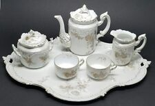 Stunning 6-pc Antique RC Rosenthal LOUIS XIV Tea Service Set w Tray c1891 Floral