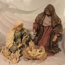 """Large Holy Family Christmas Nativity Set, 3 Pieces, Fabric & Resin 18"""" To 25"""""""
