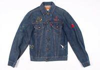 Vintage Womens Levis Made In USA Denim Embroidered Trucker Jacket M Medium