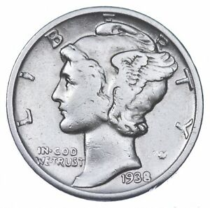 Razor Sharp 1938 Mercury Liberty Dime - 90% Silver - Stunning in High Grade *758
