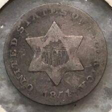 1851 3C Three Cent Silver Piece Beautiful High Grade Coin Rare Date