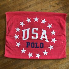 Vintage 90s Polo Ralph Lauren USA Red Spellout Beach Towel Bath Striped Blue