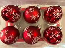 Christmas ornaments set of 6 glass red balls glitter snowflakes CH6611