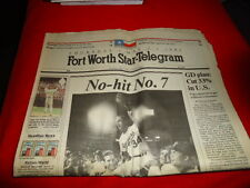 Fort Wirth Star-Telegram Nolan Ryan 7th No Hitter May 2, 1991 Complete