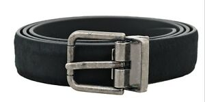 NEW $400 DOLCE & GABBANA Belt Black Leather Hair Silver Buckle s. 105cm / 42in