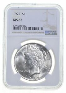 1922 MS63 Peace US Silver Dollar NGC Graded - Brown Label *0957