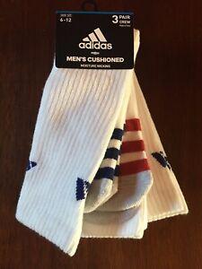 Adidas Men Sz 6-12 CREW Socks Cushioned WHITE w/Stripes Moisture Wicking 3-Pair