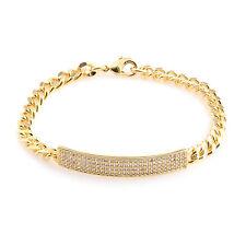 "Diamond Gold Ion Bond Steel 7"" I.D Bracelet Id Identification White Simulated"
