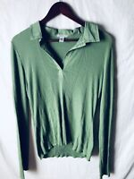 Maurices 2X Blouse Green Long Sleeves V Neck Textured 100% Cotton Collared
