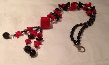 Red Coral Chunk And Cube Necklace With Black And Clear Beads Tassel Modernist