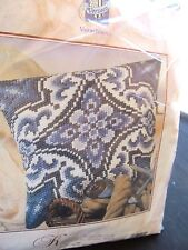 "VERVACO VERACHTERT CROSS STITCH KIT PILLOW BLUE & WHITE 506 16X16"" ARTISTIC NIP"