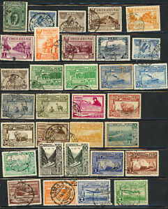 Peru- 9 Pages Air Mail (mostly), Postage Due, Official, and Tax Stamps