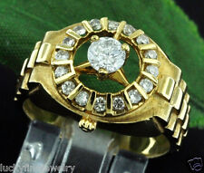 18K 0.72 CT MENS DIAMOND RING YELLOW GOLD WATCH STYLE  last one left!!