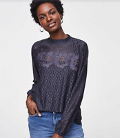 ANN TAYLOR LOFT LONG SLEEVE FLORAL MOSAIC LACE TOP GRAY NWT $69.50 SZ  M