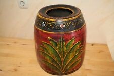 Blumenvase Holz Indien, Holzstamm ausgehölt, Handarbeit, Gewicht 9kg, Blumen