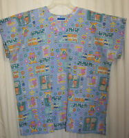 Scrub Medical Top MHB Scrubs Size L Cats Blue & Pink Multi Cotton Blend Pockets
