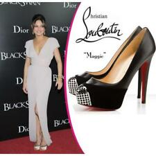 Christian Louboutin Maggie Black Royal Patent And Suede Metal Toe Pumps 38, 8