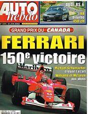 A24- Auto Hebdo N°1345 GP du Canada Ferrari 150e Victoire,Audi RS 6