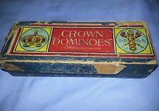 Vintage Crown Dominoes Embossing Company Wooden Dominoes Set