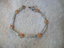 Bracelet 925 Sterling Silver w Clear & Orange Swarovski Crystals NIB Great Gift