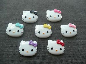 Cabochon résine Hello Kitty : Lot de 7 en 27 x 22 mm