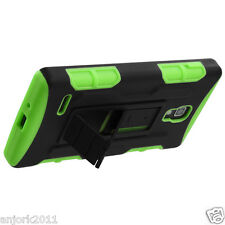 LG Optimus L9 T-Mobile P769 Hybrid C Armor Stand Case Skin Cover Black Green