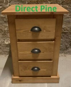 PINE FURNITURE AYLESBURY 3 DRAWER BEDSIDE OLD ANTIQUE/RUSTIC CUPS NO FLAT PACKS