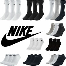 cbff12008 Nike Kids Junior 3 Pairs Socks Boys Ankle Crew Cotton Sports Black White  DRY FIT