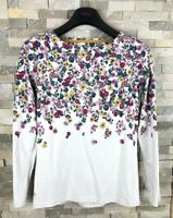Joules Ladies Size 6 Floral Ditsy White Long Sleeve T Shirt Top