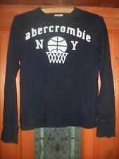 Girls Abercrombie + Fitch Navy Cotton Long Sleeved Crew Neck Top Size Small