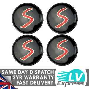 4x Red S Wheel Centre Trims Compatible with Mini Hub Cap Matches Badge