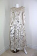Oscar De La Renta Vtg Silver Sequin Camellia Rose Formal Dress Ball Gown XS 0 2