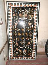 4'x2' Black Marble Dining Contemporary Table Top Floral Marquetry Inlaid H4872