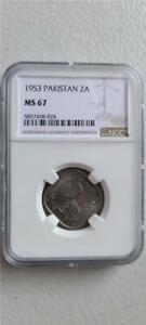 Pakistan 2 Annas 1953 NGC MS 67