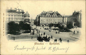 München Bayern AK 1900 Karlsplatz Menschen Personen Häuser Warenhaus Tietz Platz