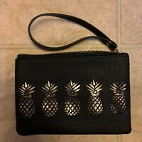 Wristlet Purse Cell Phone Smartphone Wallet Padded pineapples black and Gold