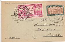 REGNO-POSTA AEREA ECCEZIONALE LIVORNO 28.6.1925+ANNO SANTO 20c(169)+Etichetta