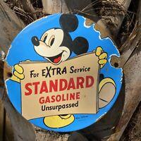 VINTAGE 1957 WALT DISNEY PORCELAIN SIGN STANDARD GASOLINE MICKEY MOUSE OIL PUMP