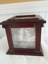 Bombay Company 2002 Mahogany Wood Photo Cube Storage/Keepsake Box 3.5x3.5 Photos