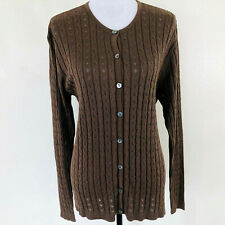Vintage TALBOTS 100% Silk Cardigan Sweater Taupe Brown Button Front Crew Neck L