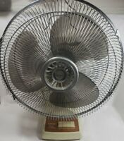 "Vintage Tatung 16"" Deluxe Electric Large Desk Fan 3-speed Oscillating Working*"